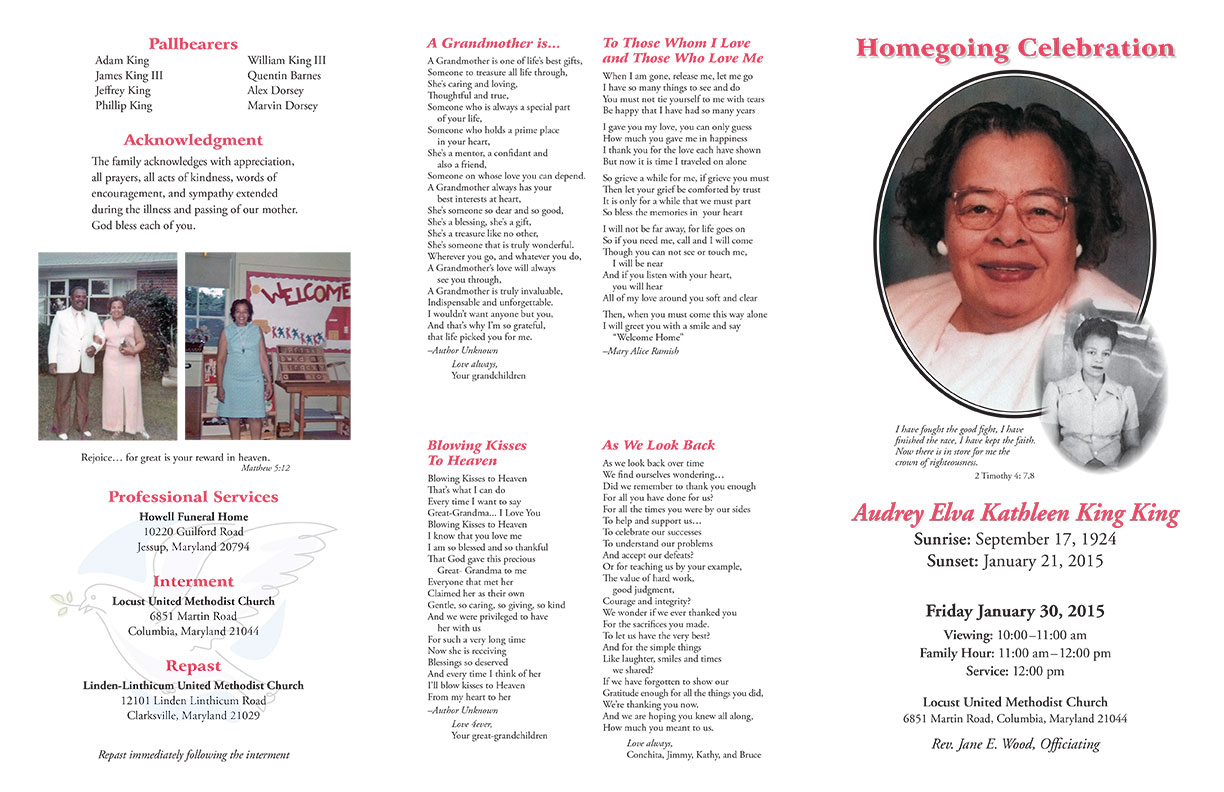 Funeral Programs  Program For A Funeral